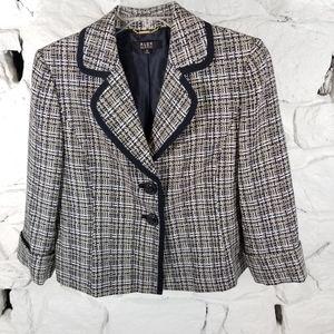 Alex Marie Womens Sz 12 Tweed Blazer 2 Button Navy